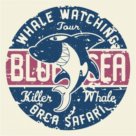 Killer whale badge - artwork for children wear in custom colors, grunge effect in separate layer. Vector