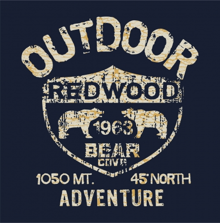 Outdoor Adventure - Vector artwork for boy t shirt in custom colors Illustration