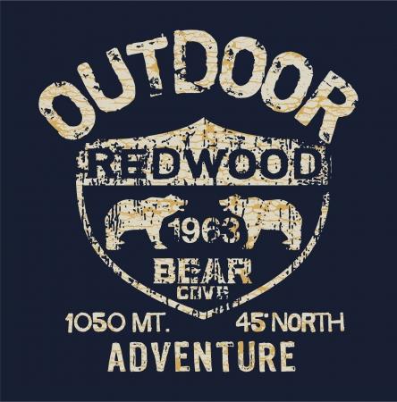 Outdoor Adventure - Vector artwork for boy t shirt in custom colors Illustration