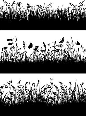 bee: Бесшовные границы травы и цветов силуэты Иллюстрация
