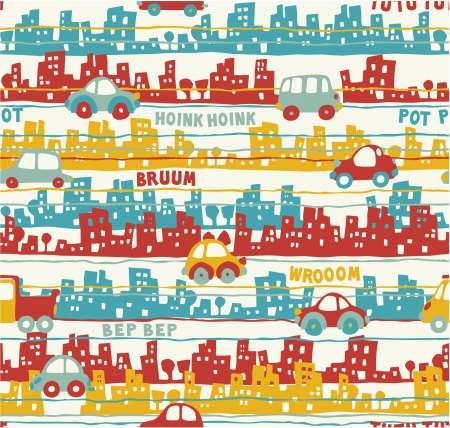 textiles: Cute urban traffic - seamless pattern of buildings and cars in custom colors Illustration