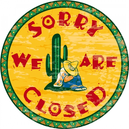 Siesta time signboard - Sorry we are closed, vintage signboard Illustration
