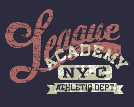 screen print: Universit� Athletic League - Stampa Vintage per l'abbigliamento sportivo in colori personalizzati Vettoriali