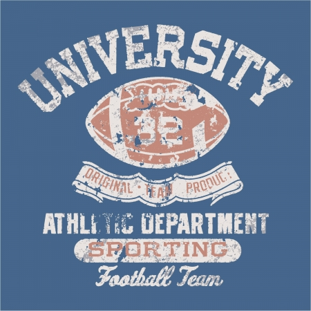 pelota rugby: Universidad fútbol departamento atlético - Impresión del vintage para la ropa deportiva en colores personalizados