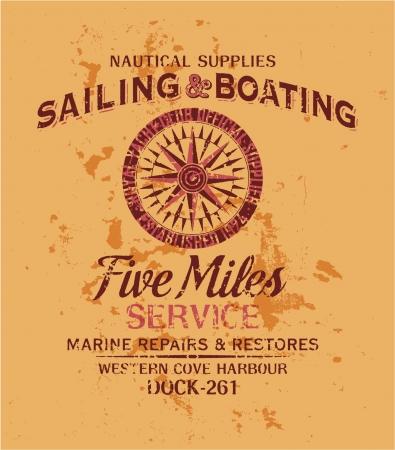 Nautical graphic - Vector print  in custom colors