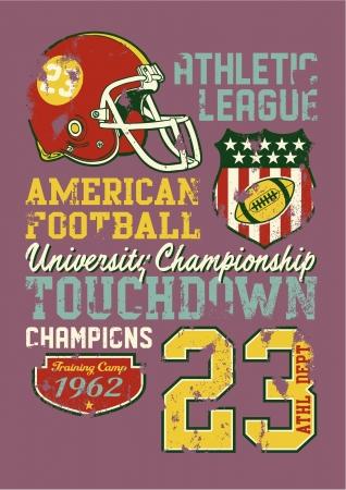 別のレイヤーでのアメリカン ・ フットボール - ビンテージ ベクトル少年スポーツウェア カスタム色での印刷 - グランジ効果