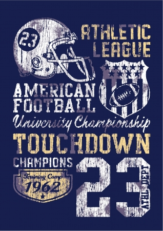 football helmet: American football - Vintage vector print for boy sportswear in custom colors