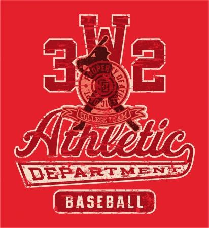 team sports: Baseball league gráfico - ilustración vectorial de ropa deportiva en colores personalizados - efecto grunge en una capa independiente