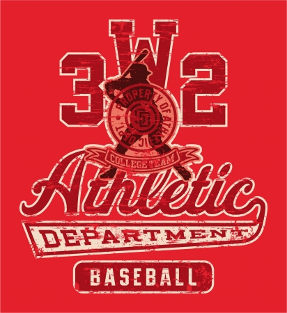 Baseball league graphic - Vector artwork for sportswear in custom colors - grunge effect in separate layer Vettoriali