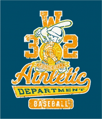 retro wear: Cute baseball player - Vector vintage artwork for children wear in custom colors