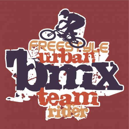 Bmx rider - Grunge vector artwork for boy sportswear in custom colors Vector