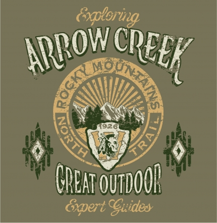 man t shirt: Arrow Creek the great outdoor - Vector artwork for boy sportswear - 3 custom colors - Grunge effect in separate layer