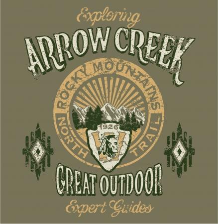 bach: Pfeil Creek die gro�e Outdoor - Vector Artwork f�r Jungen Sportbekleidung - 3 benutzerdefinierte Farben - Grunge-Effekt in separaten Ebene Illustration