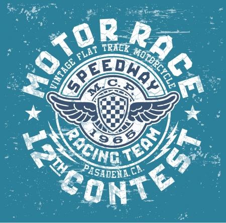 t shirt print: Motor concurso de carrera - ilustraciones del vector de la vendimia por boy camiseta en colores personalizados Vectores