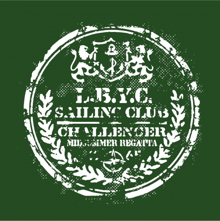 Sailing regatta badge - Grunge print  for sports wear