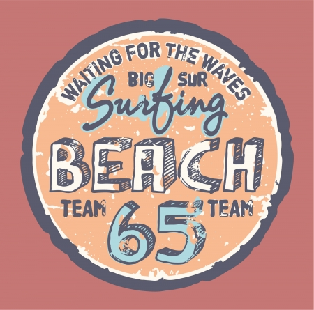 t shirt printing: Surfing beach  - Grunge artwork for sports wear in custom colors