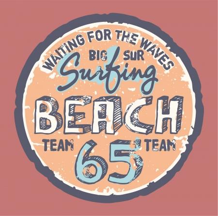 Surfing beach  - Grunge artwork for sports wear in custom colors
