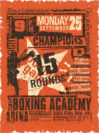 sport wear: Boxeo partido del cartel del vintage - arte Grunge para el desgaste del deporte del muchacho en colores personalizados Vectores