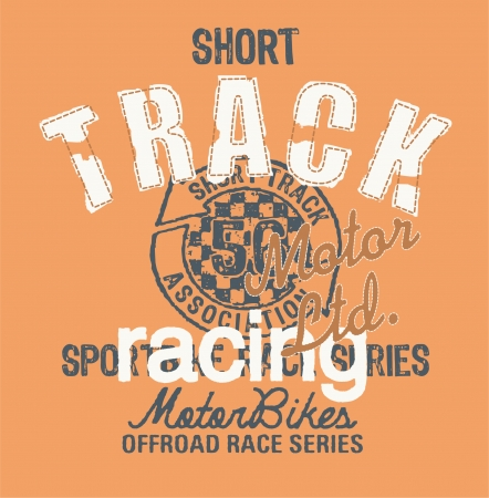 t shirt blue: Short track racing - Vintage artwork for t shirt in custom colors