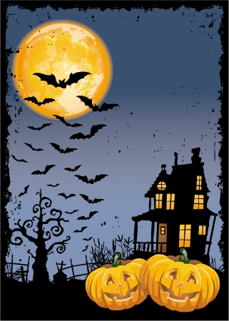 Scary pumpkins by night - Halloween party invitation card   Illustration