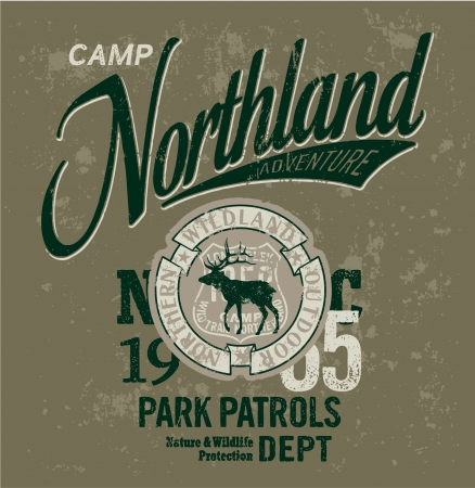 Northland adventures - Vintage artwork for boy apparel in custom colors  Illustration