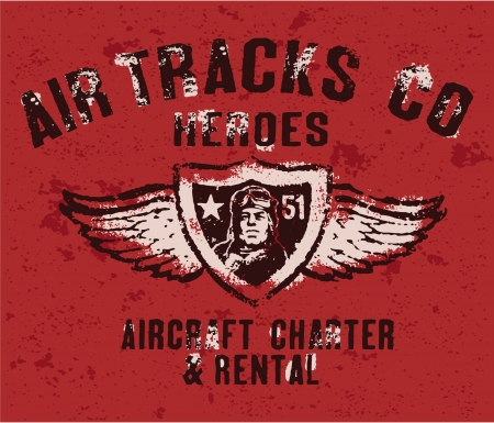 man t shirt: Air tracks heroes badge - vintage artwork in custom colors