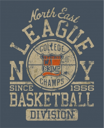 college basketball: Basketball college league  Vintage vector artwork for boy sportswear in custom colors - grunge effect in separate layers