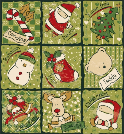 Funny Christmas patchwork elements -  vector seamless pattern in custom colors Illustration
