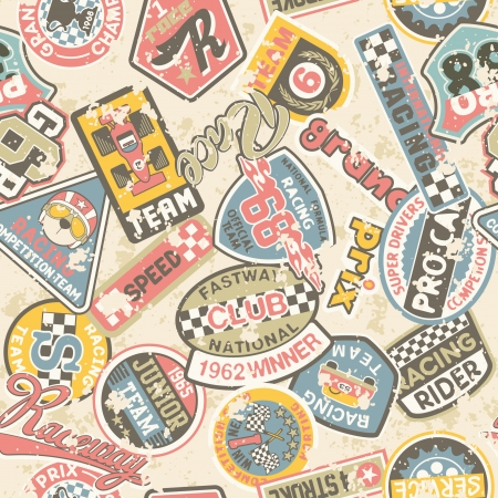 Kids racing badges patchwork - Seamless vector pattern in custom colors, grunge effect in separate layers