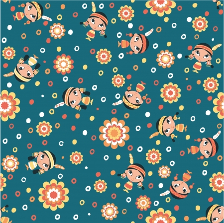 Cute little squaws - Vector seamless pattern in custom colors  Illustration
