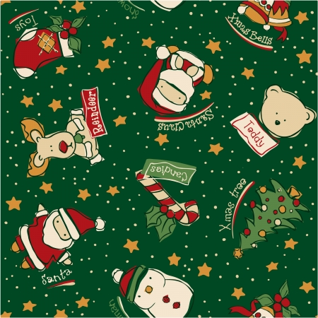 Funny Christmas elements -  vector seamless pattern in custom colors Vector