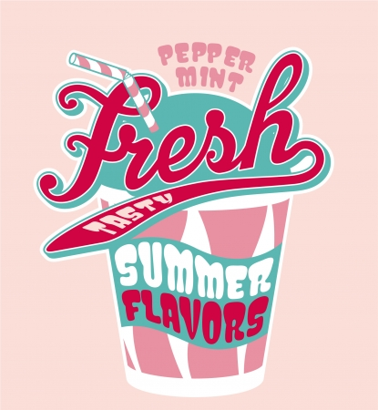 fruit smoothie: Peppermint milkshake cup - Vector artwork for girl t-shirt in custom colors Illustration