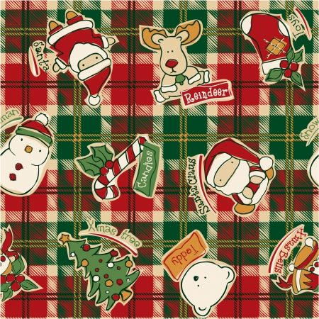 Funny Christmas elements with tartan background -  Vector seamless pattern in custom colors Vector
