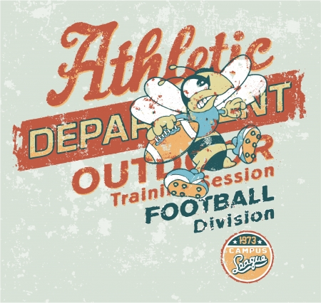 Vintage Athletic department with wasp character - Grunge vector  artwork for baby and kid wear in custom colors