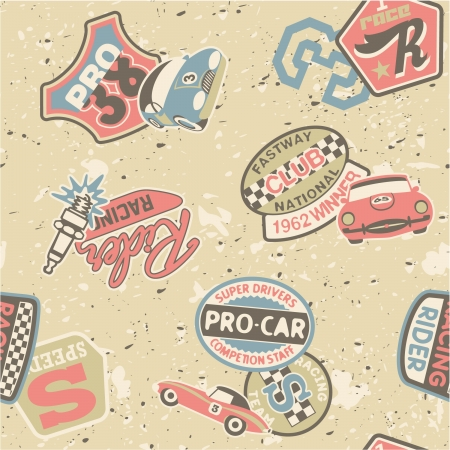 Kids racing badges elements  - Seamless vector pattern in custom colors Vector