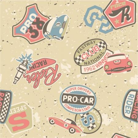 motor racing: Kids racing badges elements  - Seamless vector pattern in custom colors