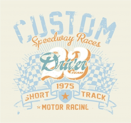 Motor race contest - Vintage vector artwork for boy sports wear in custom colors, grunge effect in separate layer  Vettoriali