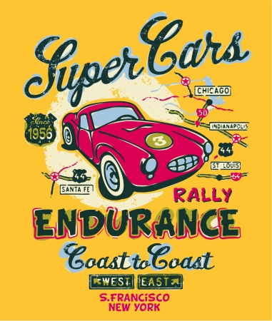 rally: Coast to coast rally - Vector artwork for children wear in custom colors