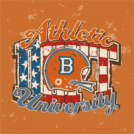 quarterback: American football university athletic dept  - Vector vintage print for children wear in custom colors