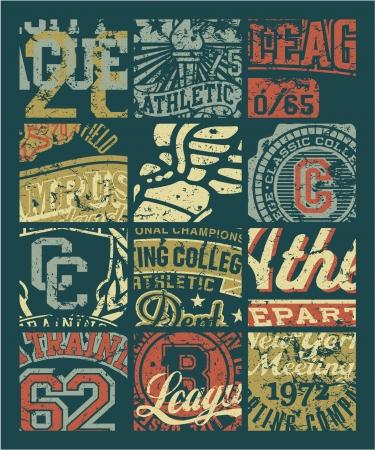 basket embroidery: Vintage athletic department  badges patchwork - Grunge vector artwork for boy sportswear in custom colors Illustration