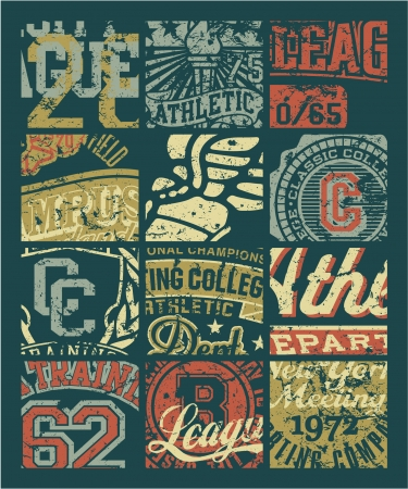 Vintage athletic department  badges patchwork - Grunge vector artwork for boy sportswear in custom colors Illustration