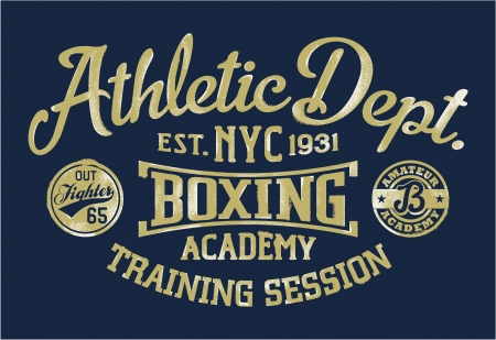 boxing boy: Boxing academy - Vintage artwork for sportswear in custom colors