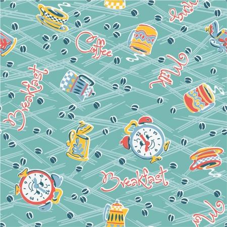 nightwear: Funny breakfast elements,  seamless vector pattern in custom colors