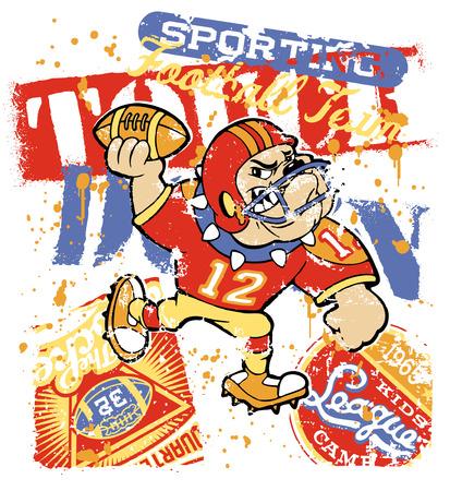 カスタム色でブルドッグのフットボール チーム - 子供のためのアートワークを着用します。