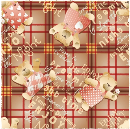 Cute teddy bear wallpaper, Vector seamless pattern with tartan background Vector