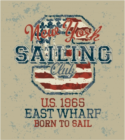 Vintage sailing club, Grunge vector artwork for sportswear in custom colors