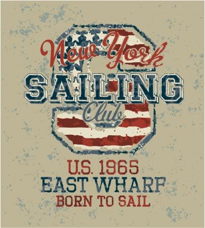 Vintage sailing club, Grunge vector artwork for sportswear in custom colors