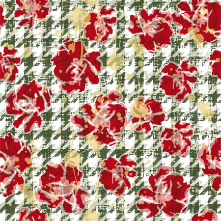 Floral grunge wallpaper, vector seamless patter with houndstooth background
