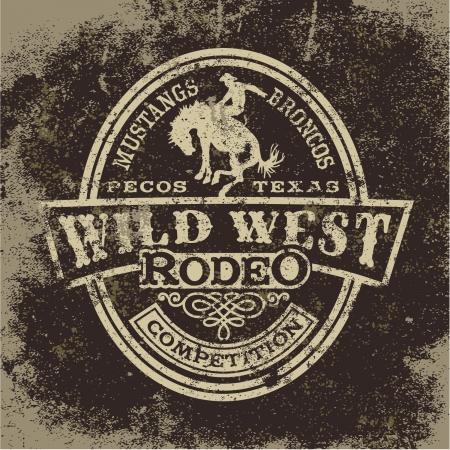 country western: Rod�o de l'ouest sauvage, illustration de vecteur de cru pour l'usure de gar�on, effet grunge dans des couches s�par�es
