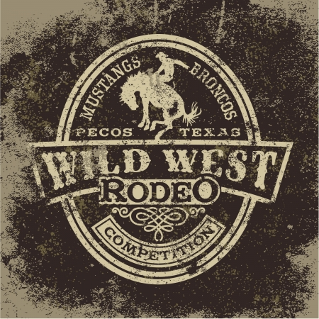 cowboy on horse: Wild west rodeo, vintage vector artwork for boy wear, grunge effect in separate layers Illustration